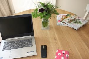 desk with garden posy
