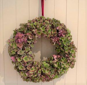 hanging hydrangea wreath